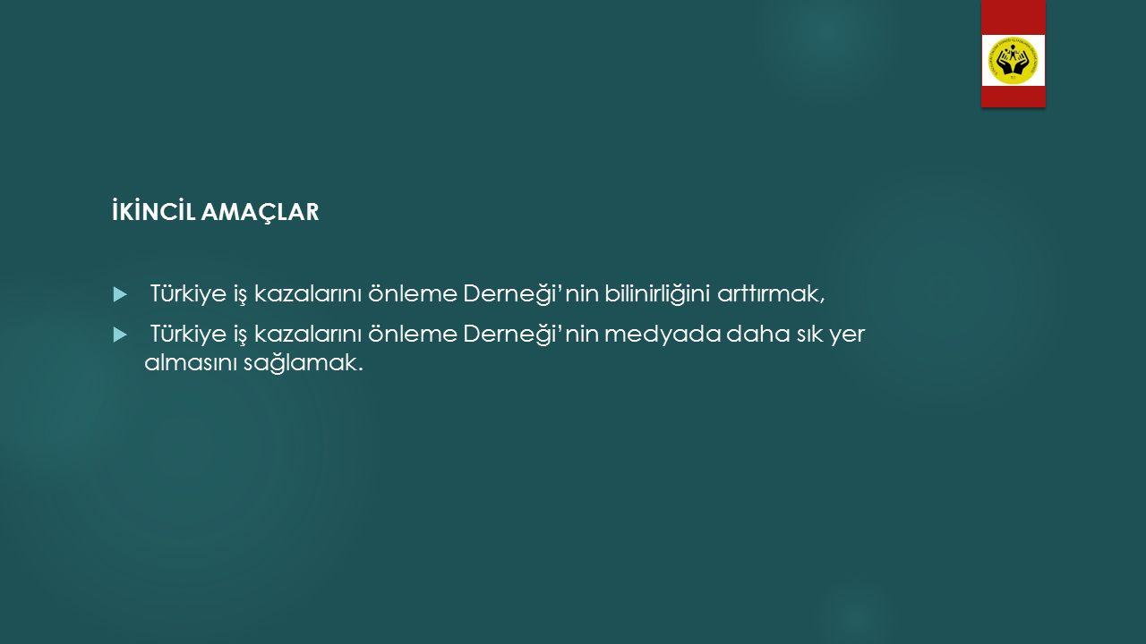 İKİNCİL AMAÇLAR Türkiye iş kazalarını önleme Derneği'nin bilinirliğini arttırmak,