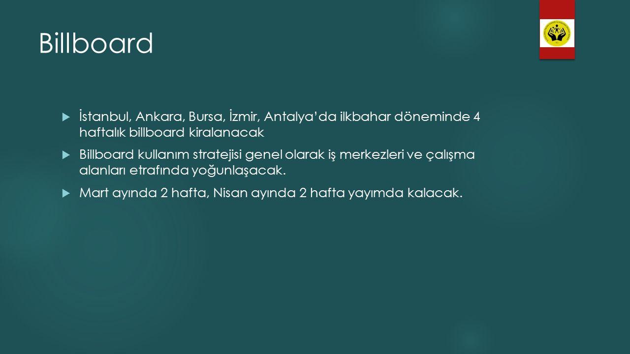 Billboard İstanbul, Ankara, Bursa, İzmir, Antalya'da ilkbahar döneminde 4 haftalık billboard kiralanacak.