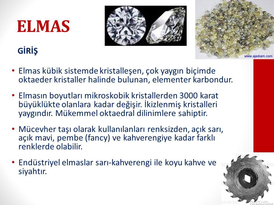 ELMAS GİRİŞ. Elmas kübik sistemde kristalleşen, çok yaygın biçimde oktaeder kristaller halinde bulunan, elementer karbondur.