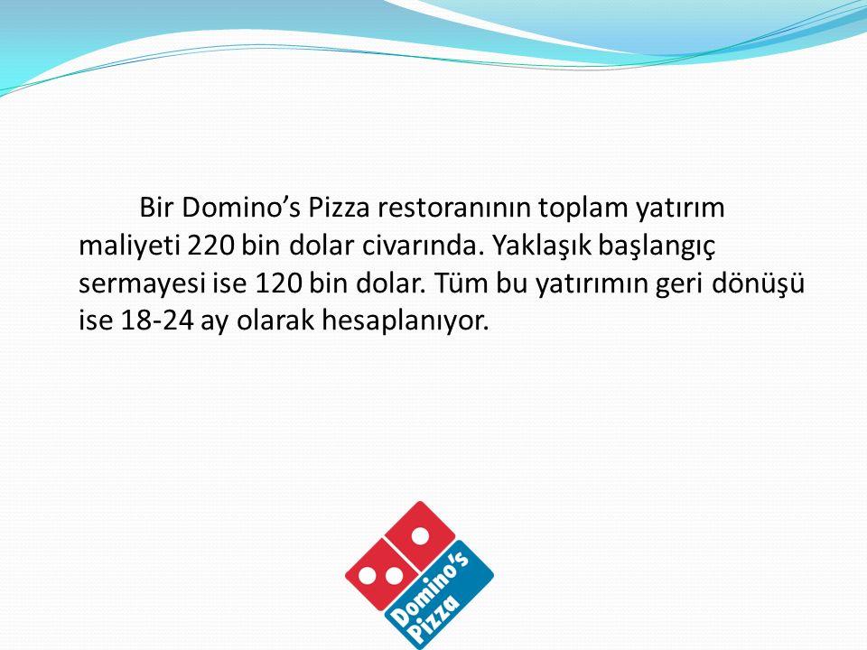Bir Domino's Pizza restoranının toplam yatırım maliyeti 220 bin dolar civarında.