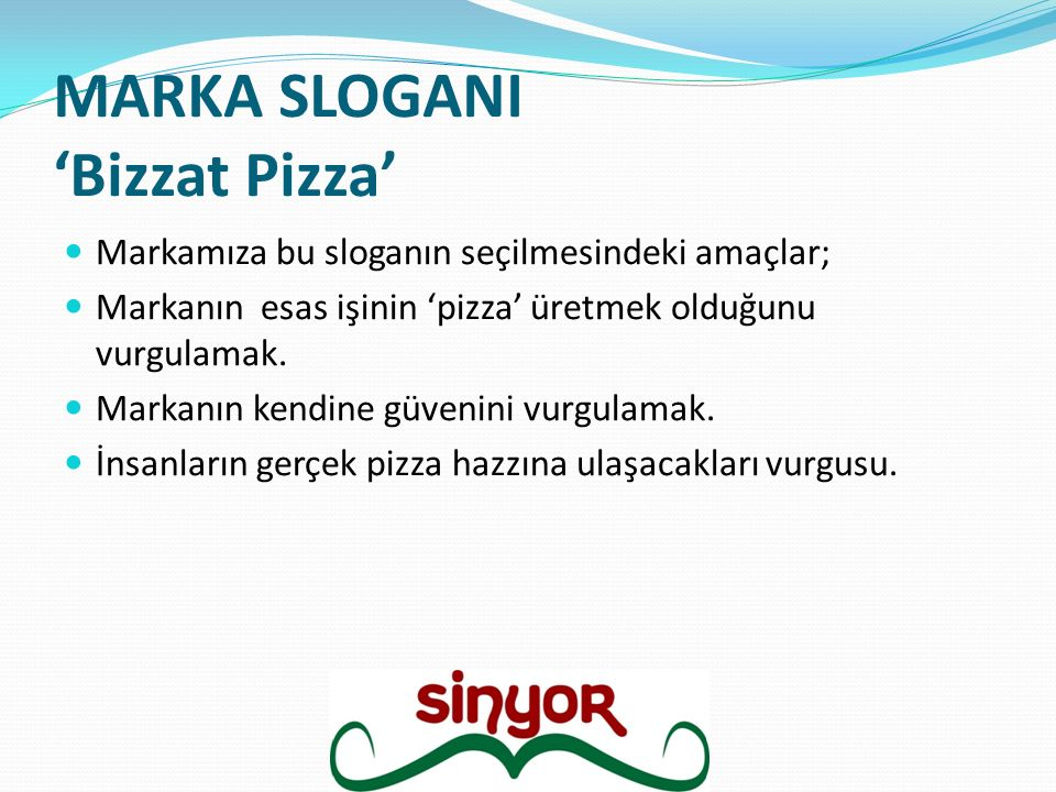 MARKA SLOGANI 'Bizzat Pizza'