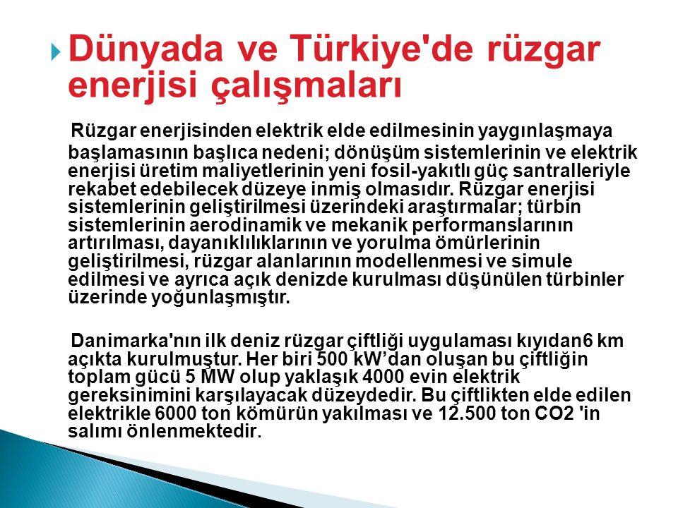 Dünyada ve Türkiye de rüzgar enerjisi çalışmaları