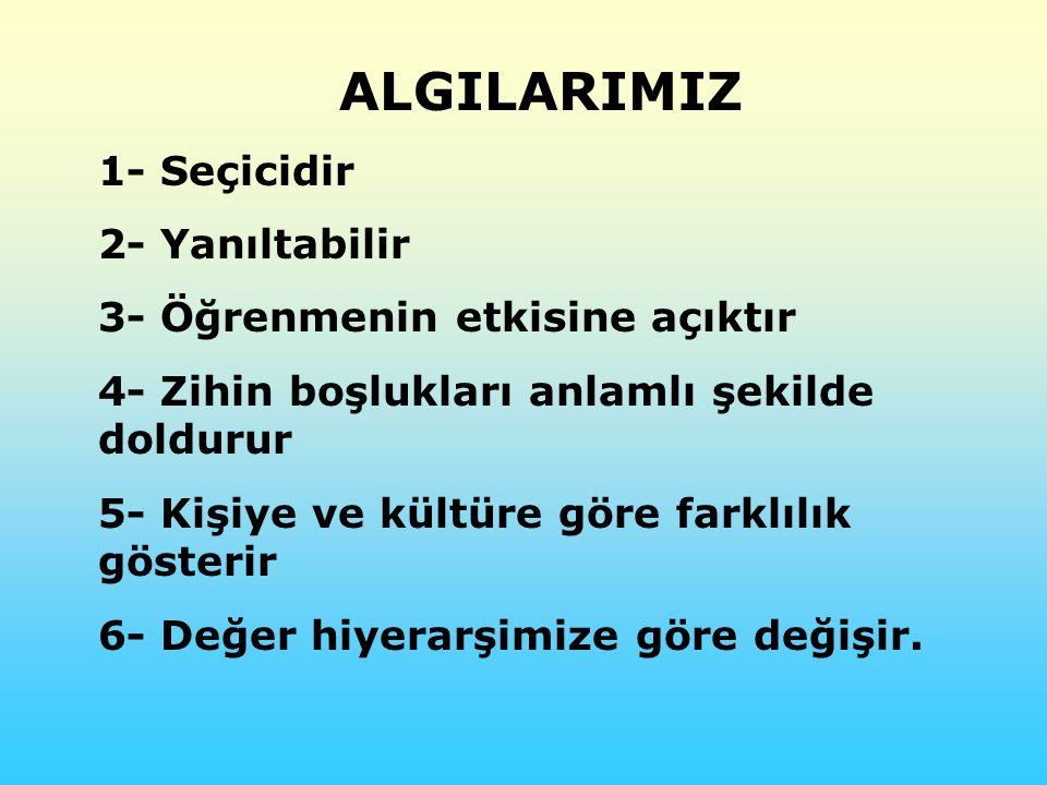 ALGILARIMIZ 1- Seçicidir 2- Yanıltabilir
