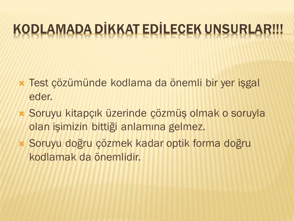 KODLAMADA DİKKAT EDİLECEK UNSURLAR!!!