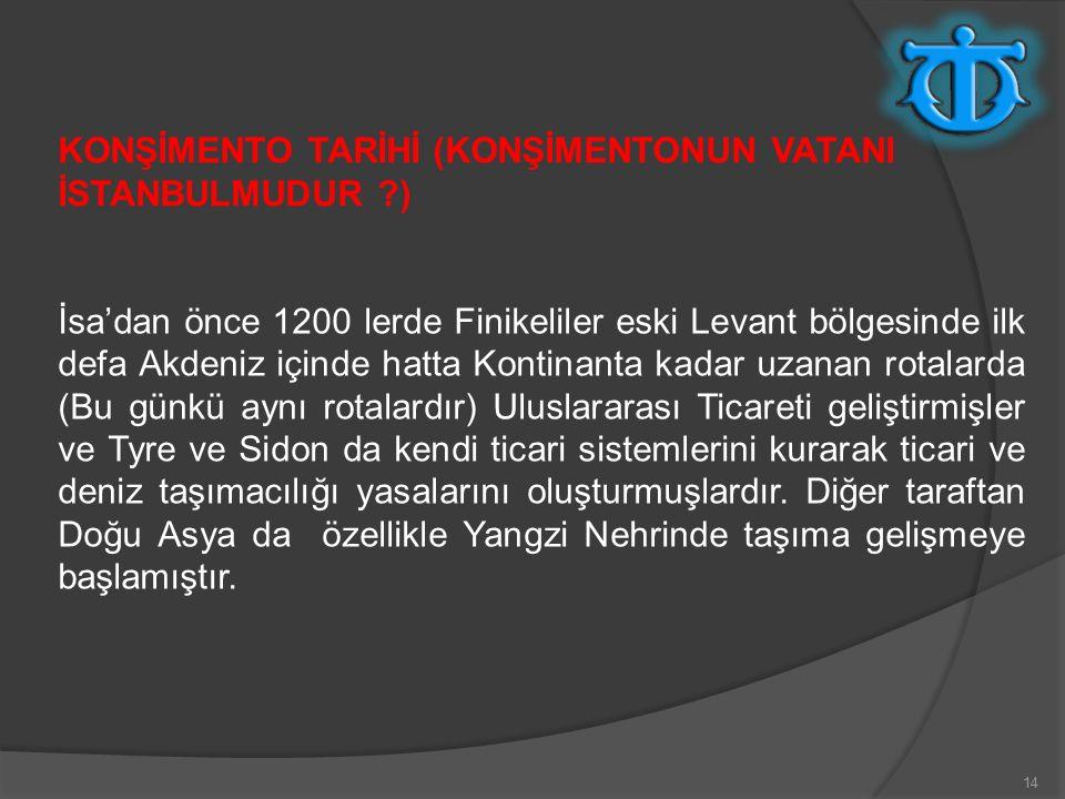 KONŞİMENTO TARİHİ (KONŞİMENTONUN VATANI İSTANBULMUDUR )