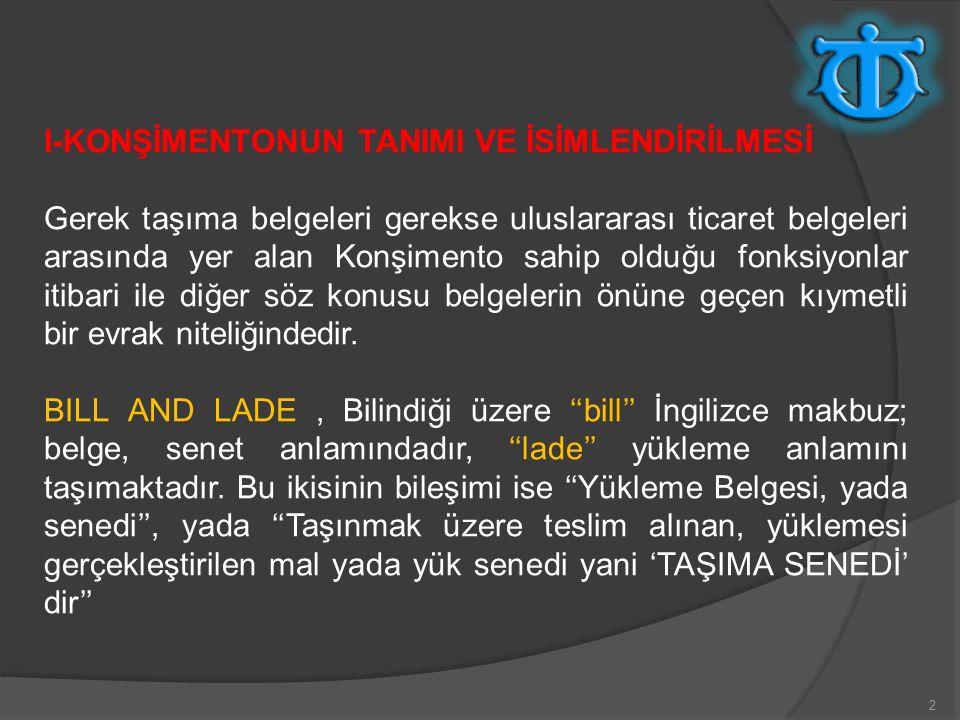 I-KONŞİMENTONUN TANIMI VE İSİMLENDİRİLMESİ