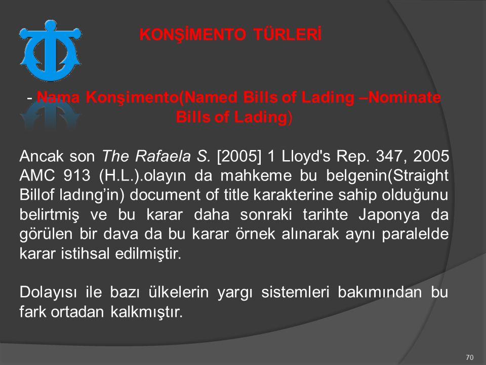 - Nama Konşimento(Named Bills of Lading –Nominate Bills of Lading)