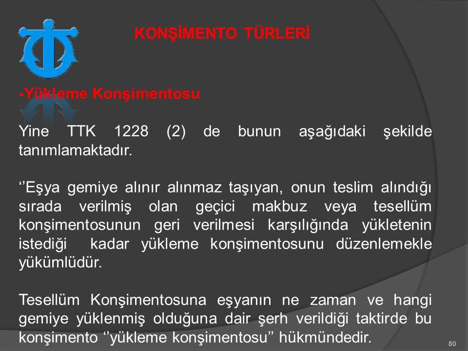 KONŞİMENTO TÜRLERİ -Yükleme Konşimentosu. Yine TTK 1228 (2) de bunun aşağıdaki şekilde tanımlamaktadır.