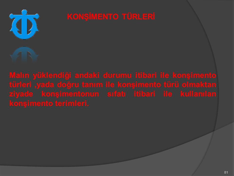 KONŞİMENTO TÜRLERİ