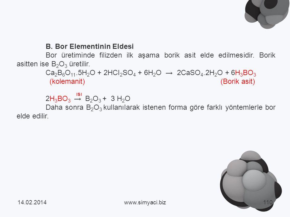 B. Bor Elementinin Eldesi