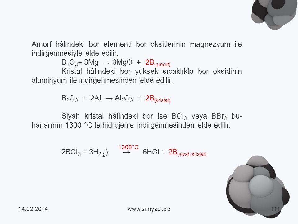 B2O3 + 2AI → Al2O3 + 2B(kristal)