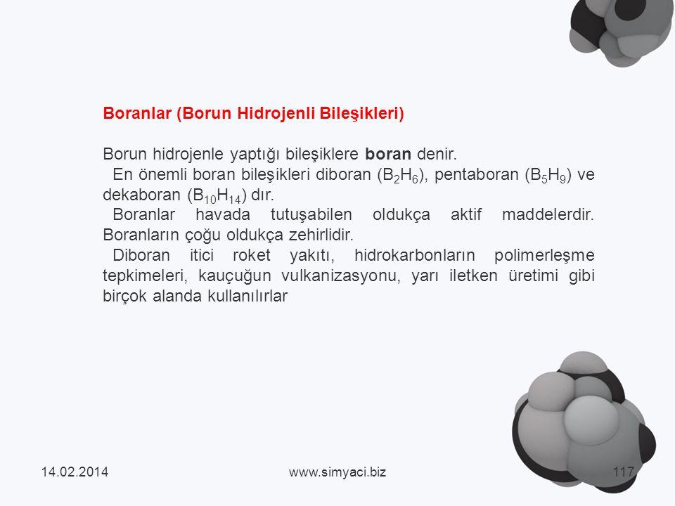 Boranlar (Borun Hidrojenli Bileşikleri)
