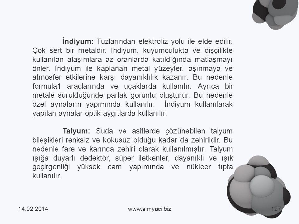İndiyum: Tuzlarından elektroliz yolu ile elde edilir