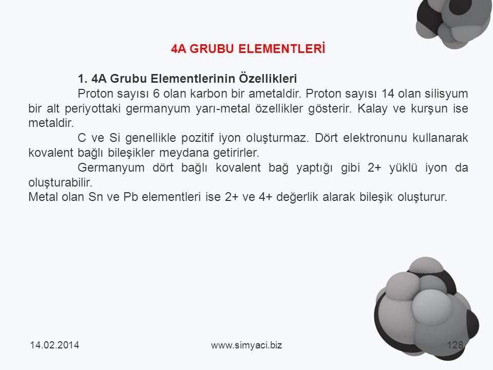 1. 4A Grubu Elementlerinin Özellikleri