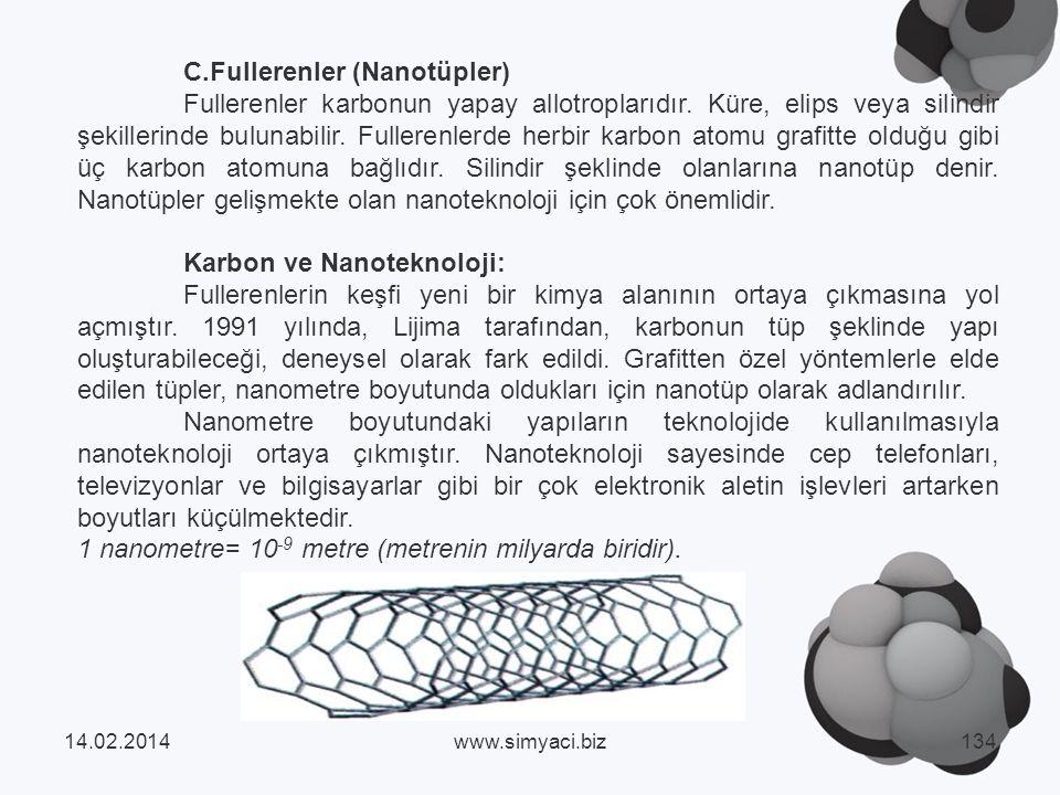 C.Fullerenler (Nanotüpler)
