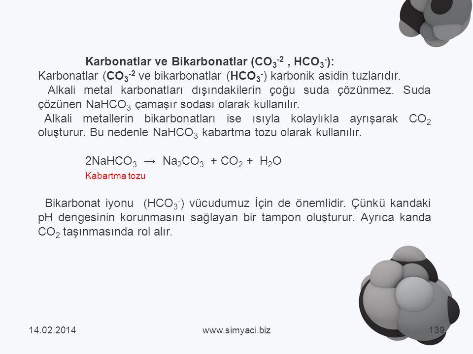 Karbonatlar ve Bikarbonatlar (CO3-2 , HCO3-):