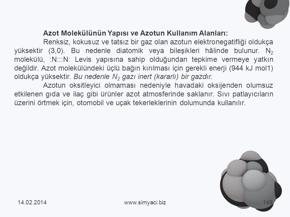 Azot Molekülünün Yapısı ve Azotun Kullanım Alanları: