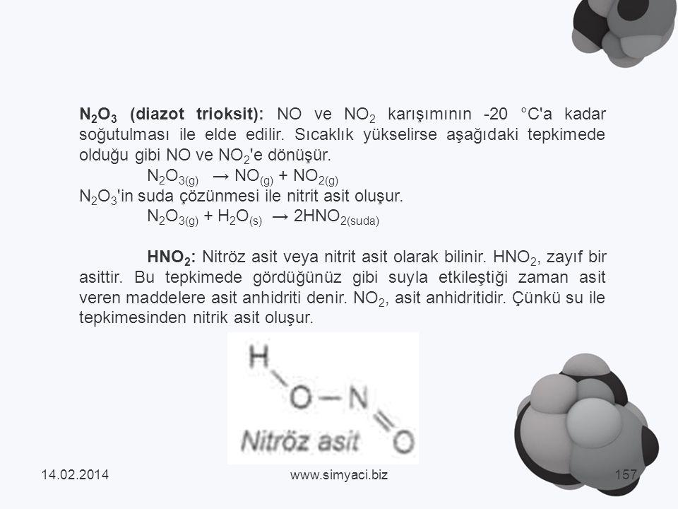N2O3 in suda çözünmesi ile nitrit asit oluşur.