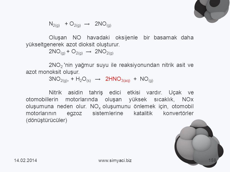 3NO2(g), + H2O(s) → 2HNO3(aq) + NO(g)