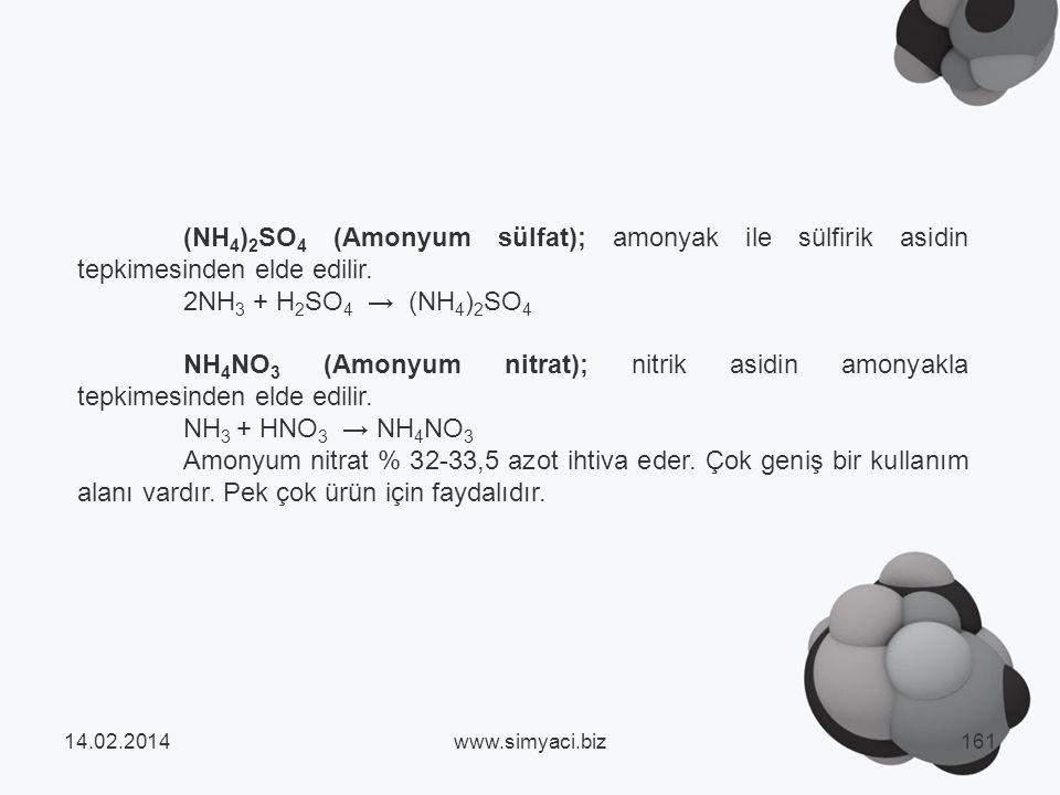 (NH4)2SO4 (Amonyum sülfat); amonyak ile sülfirik asidin tepkimesinden elde edilir.