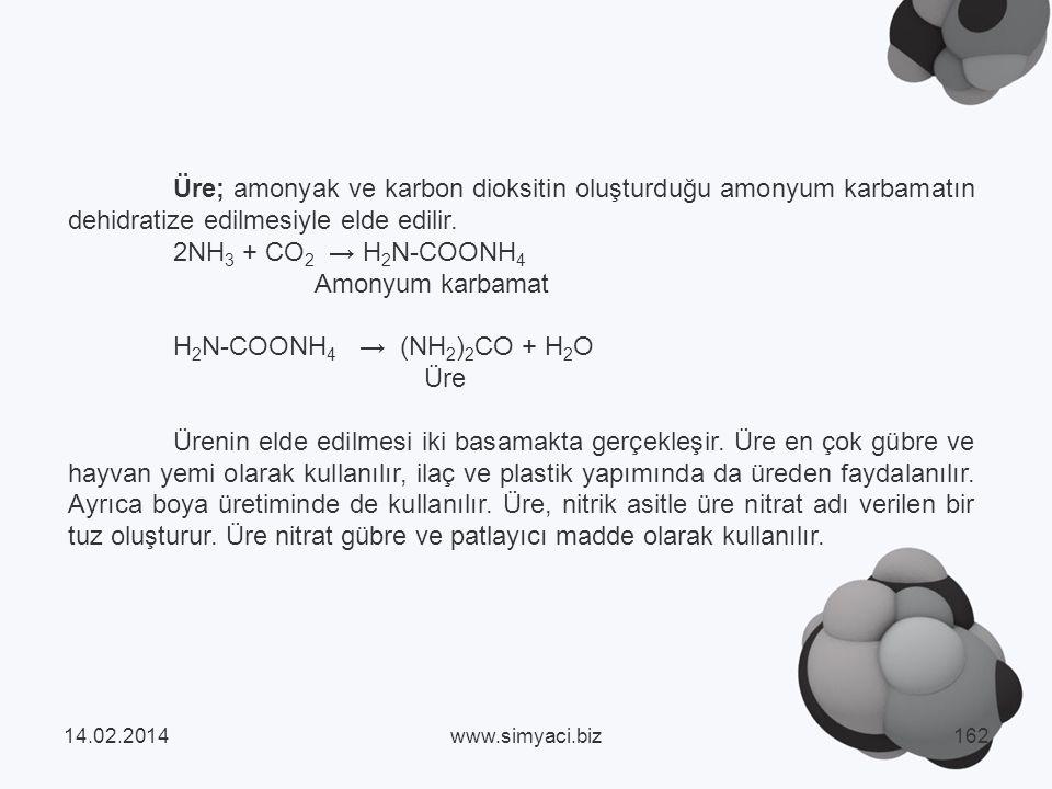 Üre; amonyak ve karbon dioksitin oluşturduğu amonyum karbamatın dehidratize edilmesiyle elde edilir.