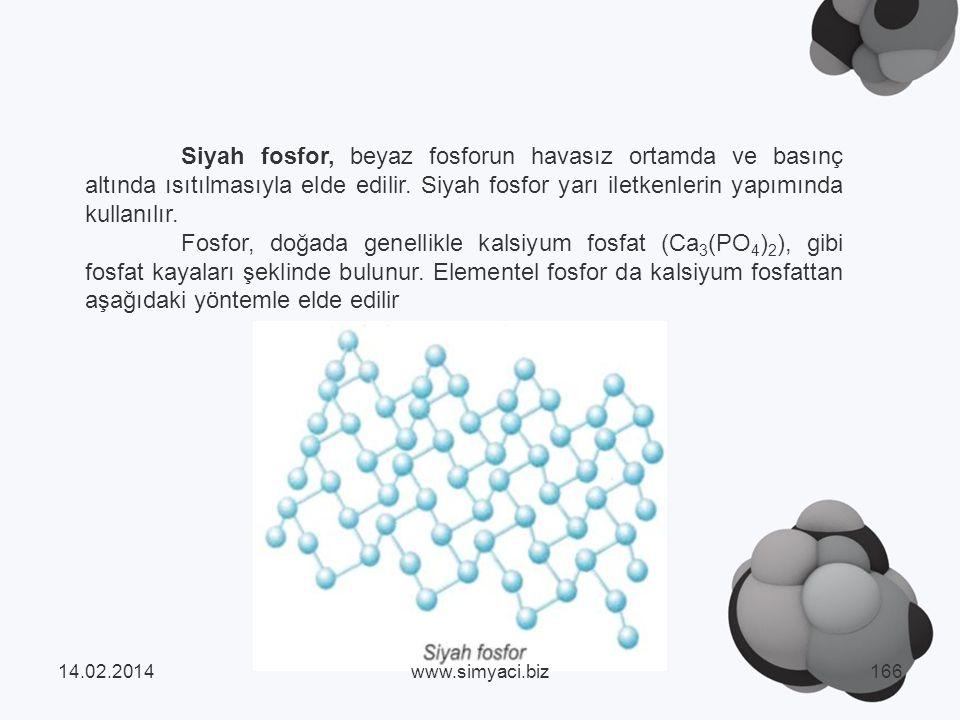 Siyah fosfor, beyaz fosforun havasız ortamda ve basınç altında ısıtılmasıyla elde edilir. Siyah fosfor yarı iletkenlerin yapımında kullanılır.