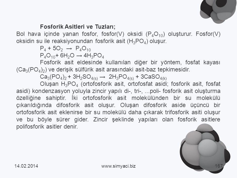 Fosforik Asitleri ve Tuzları;