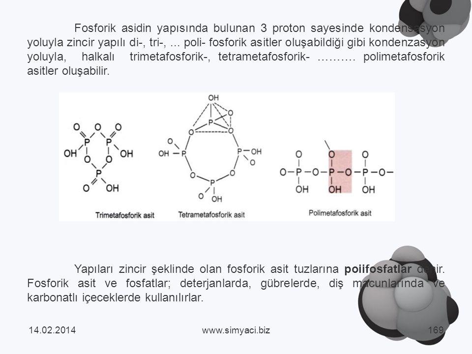 Fosforik asidin yapısında bulunan 3 proton sayesinde kondensasyon yoluyla zincir yapılı di-, tri-, ... poli- fosforik asitler oluşabildiği gibi kondenzasyon yoluyla, halkalı trimetafosforik-, tetrametafosforik- ………. polimetafosforik asitler oluşabilir.