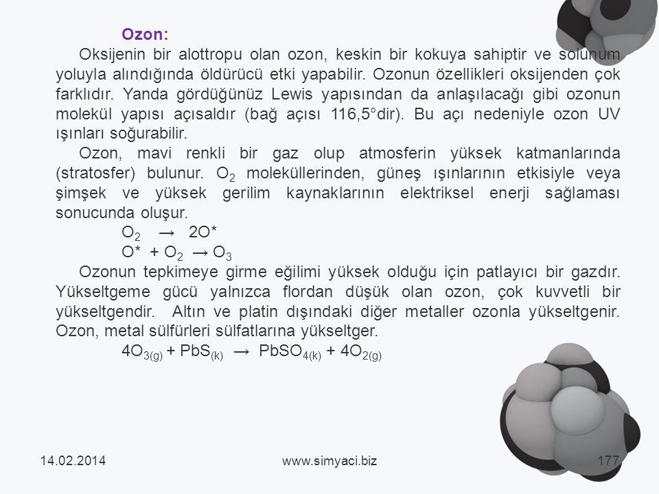 4O3(g) + PbS(k) → PbSO4(k) + 4O2(g)