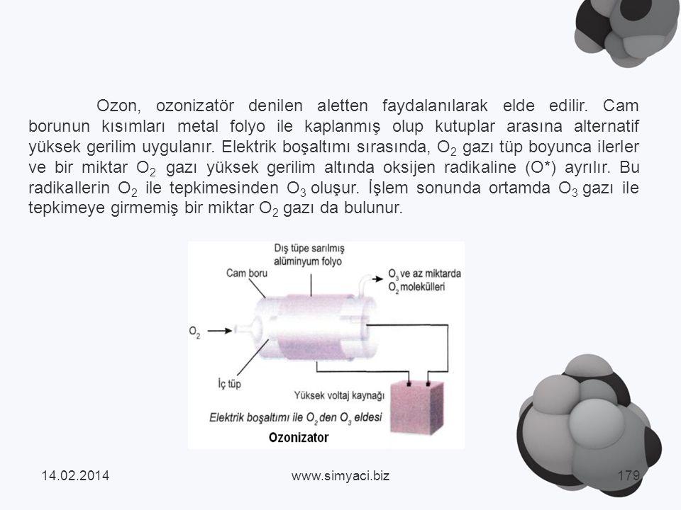 Ozon, ozonizatör denilen aletten faydalanılarak elde edilir