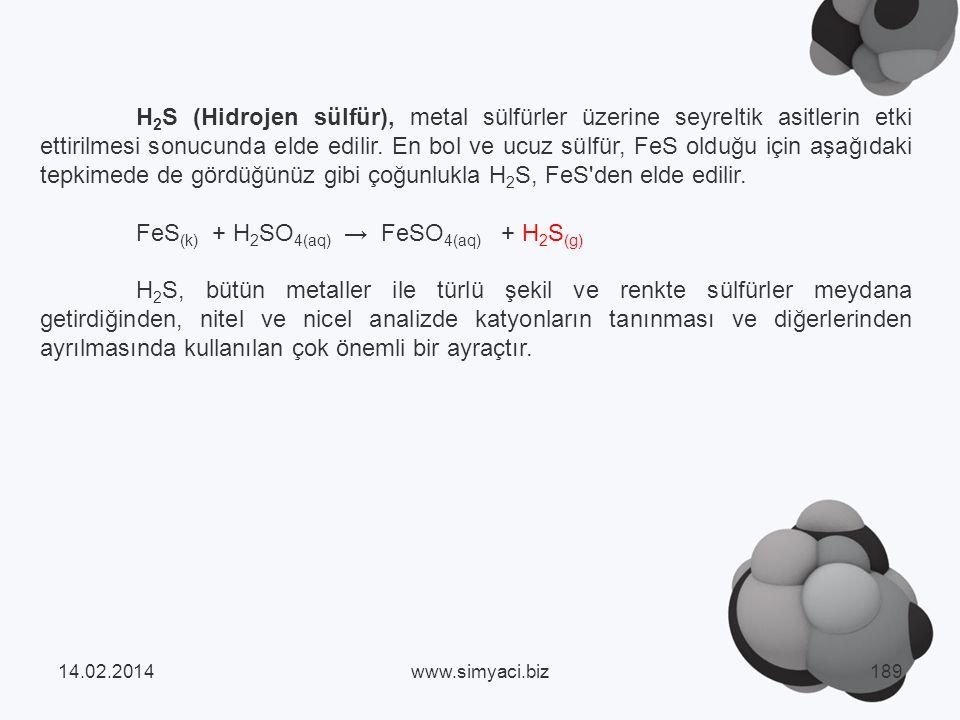 FeS(k) + H2SO4(aq) → FeSO4(aq) + H2S(g)