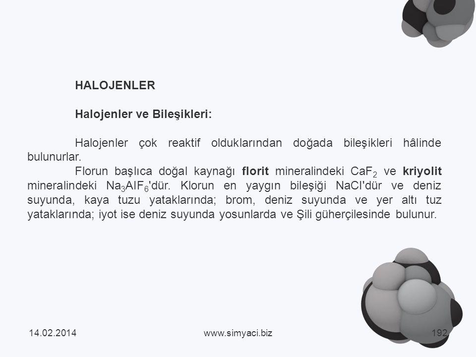 Halojenler ve Bileşikleri: