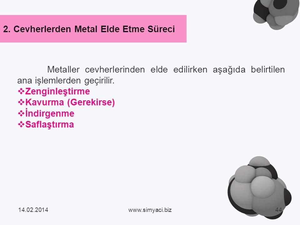 2. Cevherlerden Metal Elde Etme Süreci