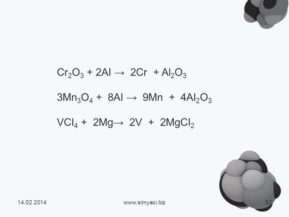 3Mn3O4 + 8AI → 9Mn + 4AI2O3 VCI4 + 2Mg→ 2V + 2MgCI2