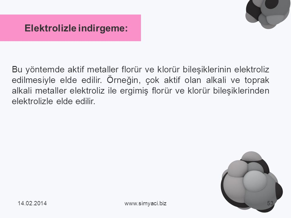 Elektrolizle indirgeme: