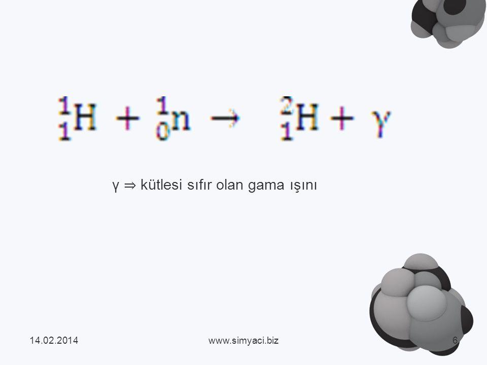 γ ⇒ kütlesi sıfır olan gama ışını