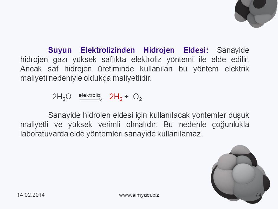 Suyun Elektrolizinden Hidrojen Eldesi: Sanayide hidrojen gazı yüksek saflıkta elektroliz yöntemi ile elde edilir. Ancak saf hidrojen üretiminde kullanılan bu yöntem elektrik maliyeti nedeniyle oldukça maliyetlidir.