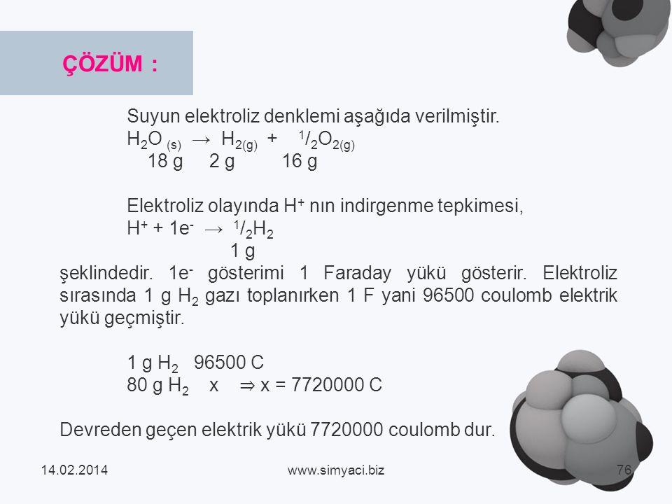 ÇÖZÜM : Suyun elektroliz denklemi aşağıda verilmiştir.