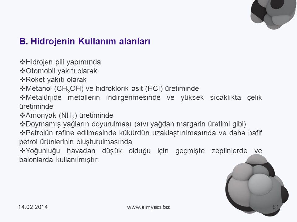 B. Hidrojenin Kullanım alanları