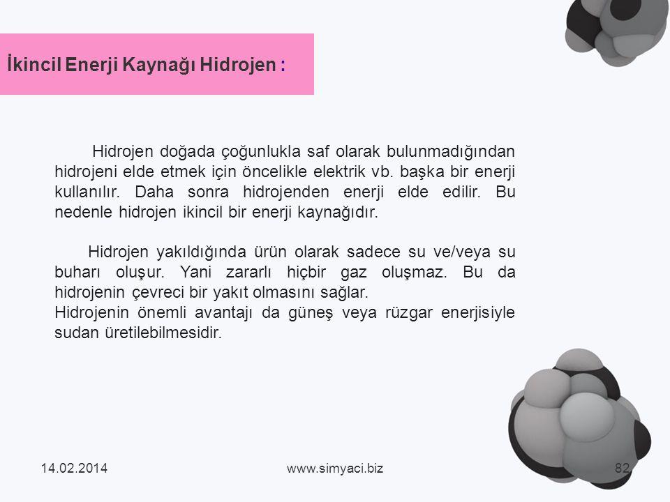 İkincil Enerji Kaynağı Hidrojen :