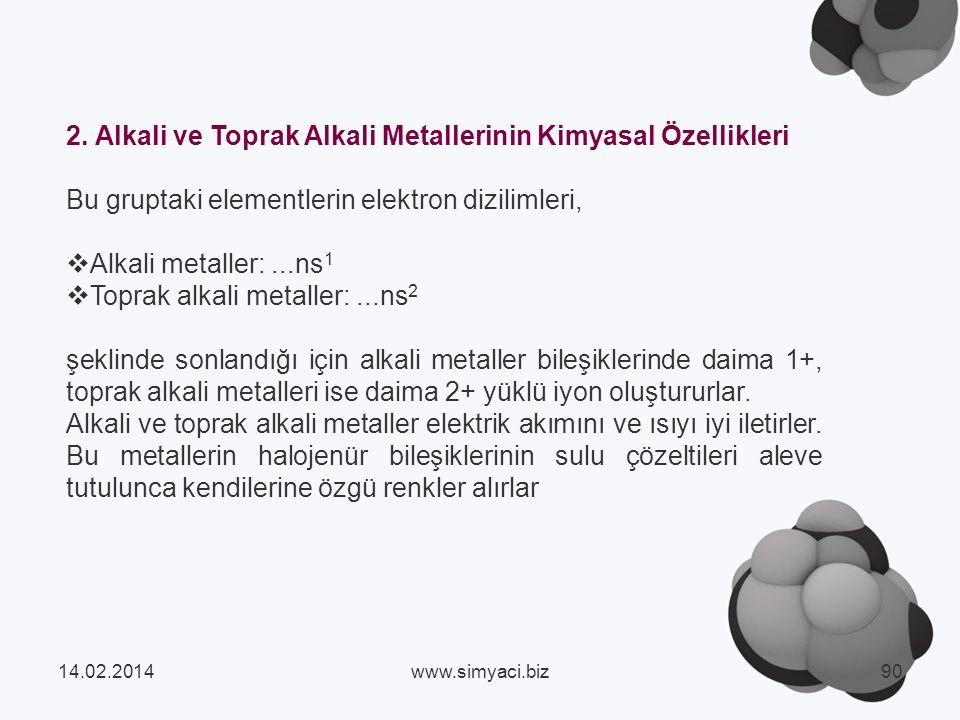 2. Alkali ve Toprak Alkali Metallerinin Kimyasal Özellikleri
