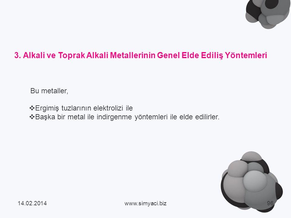 3. Alkali ve Toprak Alkali Metallerinin Genel Elde Ediliş Yöntemleri