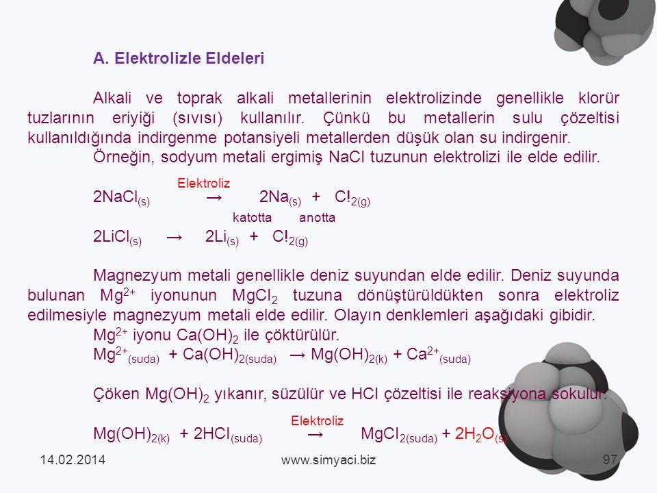 A. Elektrolizle Eldeleri