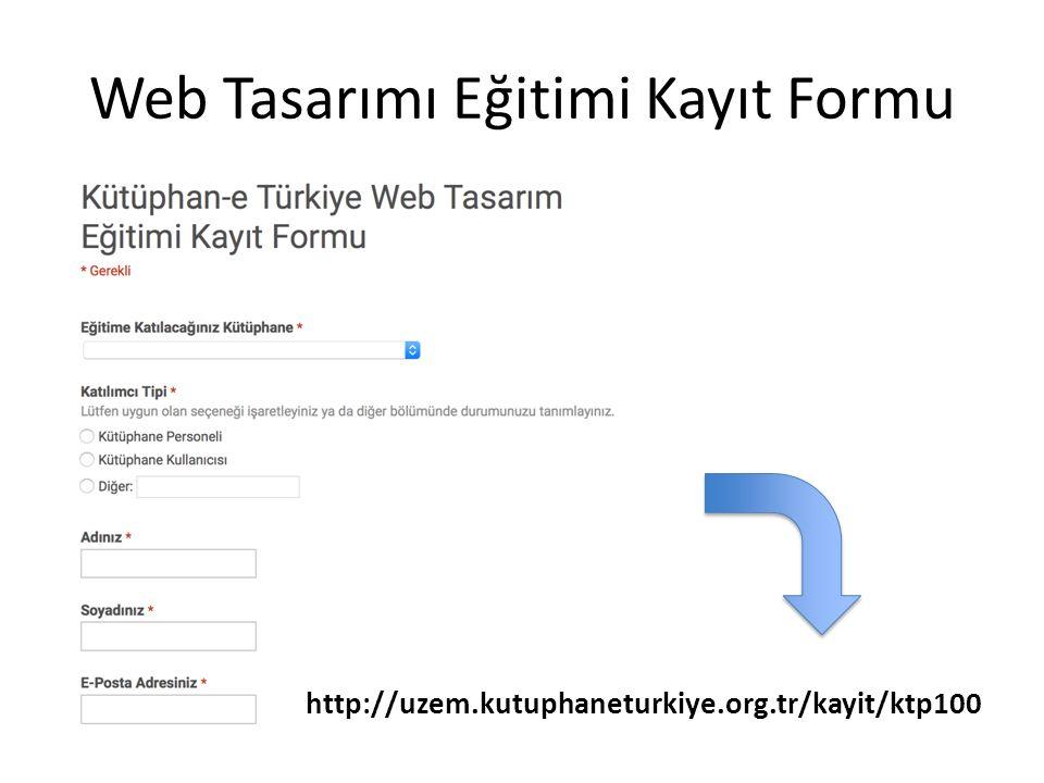 Web Tasarımı Eğitimi Kayıt Formu