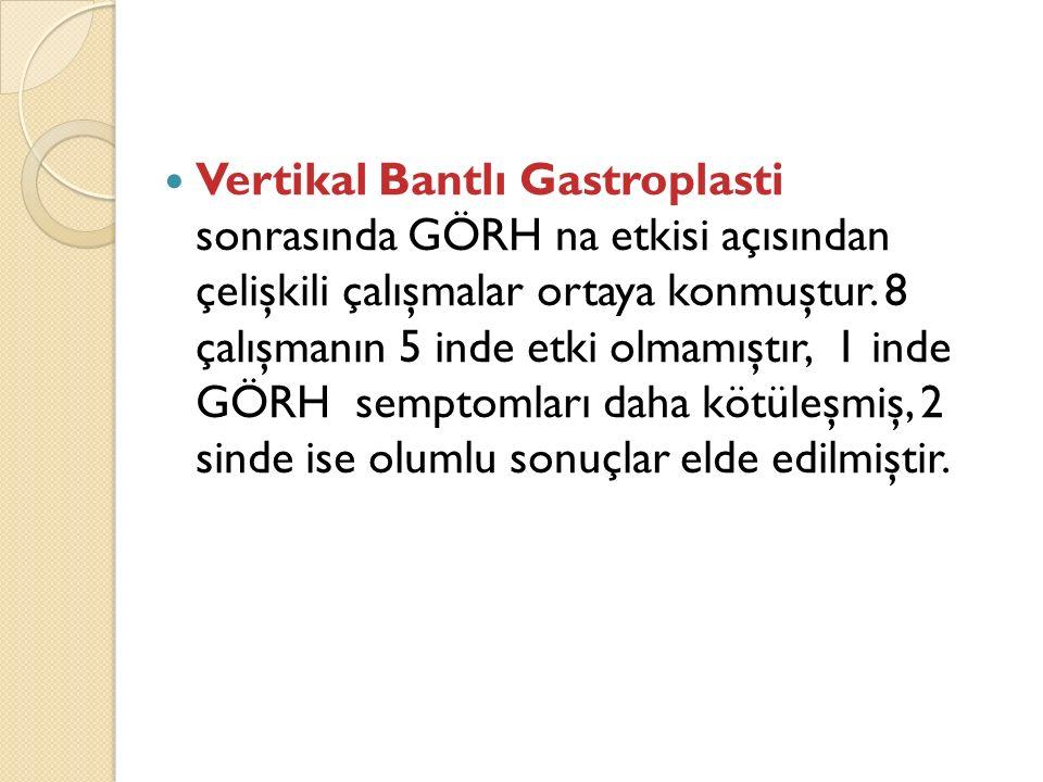 Vertikal Bantlı Gastroplasti sonrasında GÖRH na etkisi açısından çelişkili çalışmalar ortaya konmuştur.