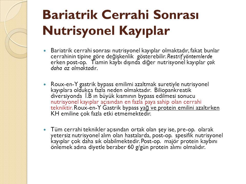 Bariatrik Cerrahi Sonrası Nutrisyonel Kayıplar