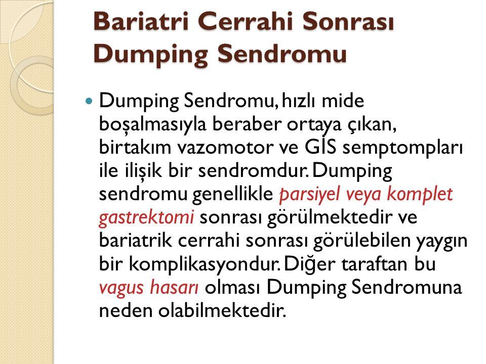 Bariatri Cerrahi Sonrası Dumping Sendromu