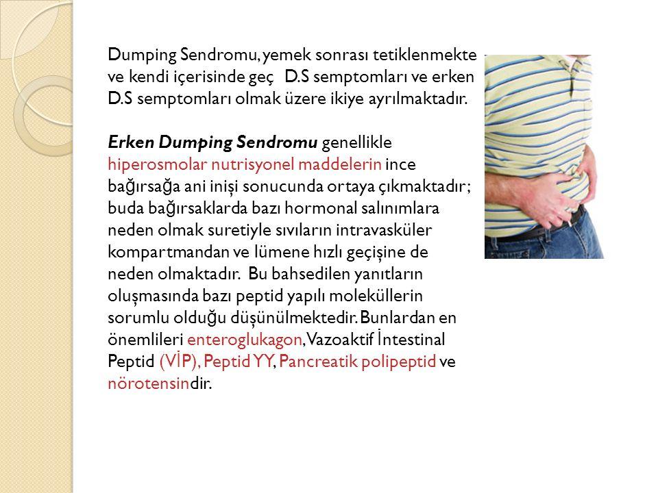 Dumping Sendromu, yemek sonrası tetiklenmekte ve kendi içerisinde geç D.S semptomları ve erken D.S semptomları olmak üzere ikiye ayrılmaktadır.