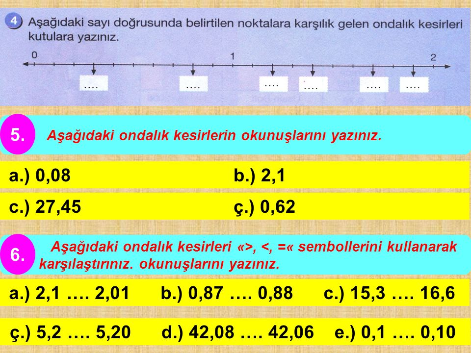 …. Aşağıdaki ondalık kesirlerin okunuşlarını yazınız. 5. a.) 0,08 b.) 2,1.