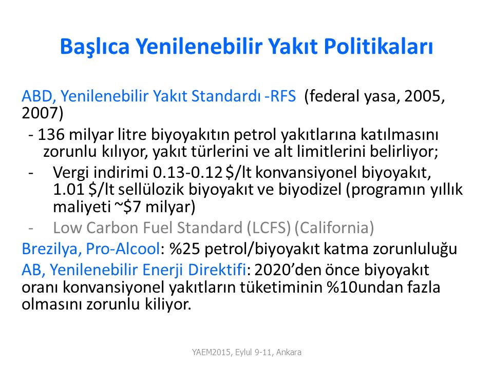 Başlıca Yenilenebilir Yakıt Politikaları